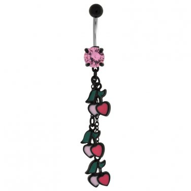 Cherry And Heart Dangling Navel Ring