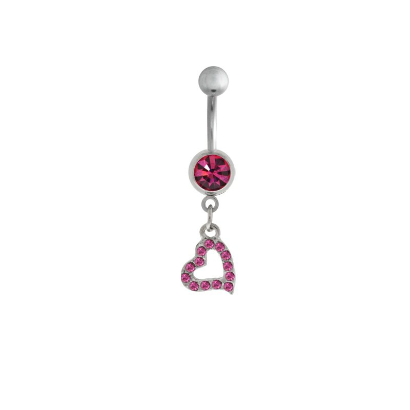 Dangling Pink Paved Heart Navel Ring