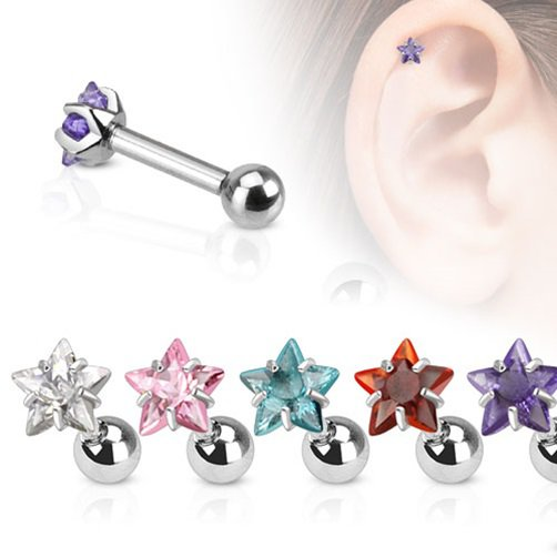 Star w/ Red CZ Tragus/Cartilage Piercing Studs