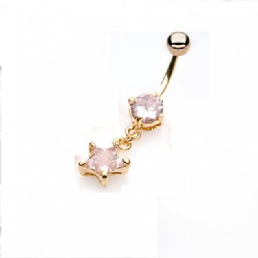 Gold Plated Navel Ring w/Pink CZ Star  Dangle