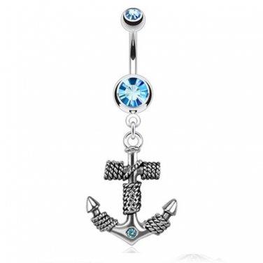 Roped Anchor Dangle Navel Ring/Aqua CZ Gems