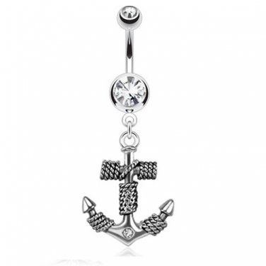 Roped Anchor Dangle Navel Ring/Clear CZ Gems