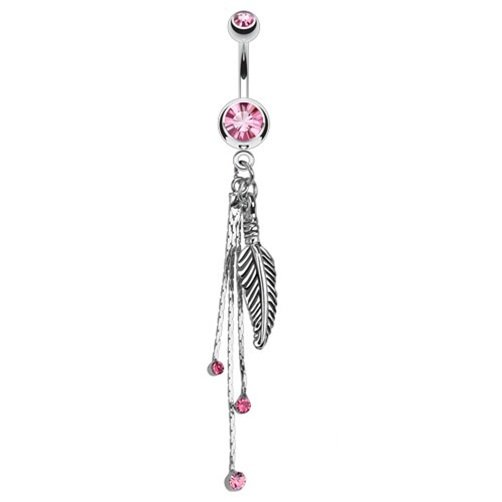 Feather and Chains with Pink CZs Dangle