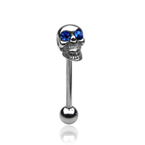 SKULL TONGUE BARBELL w/Blue CZ Eyes