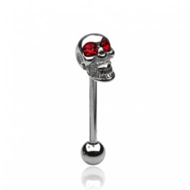 SKULL TONGUE BARBELL w/Red CZ Eyes