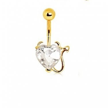 Gold Plated Clear Devil Heart Navel Ring