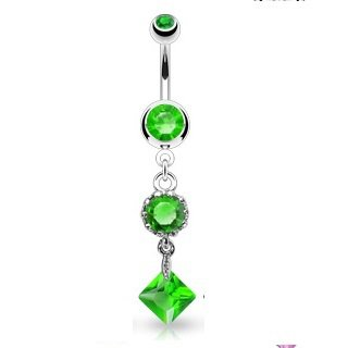 Vintage Style Single Round and Square Green CZ Navel Ring
