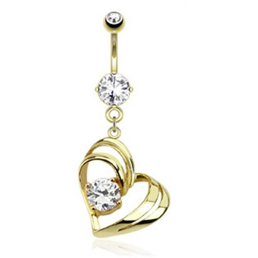 Single Pronged Gem In Hollow Heart Dangle 14kt Gold Plated Navel Ring
