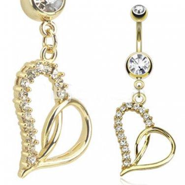 Loop Heart Multi Paved Gemmed Dangle 14kt Gold Plated Navel Ring