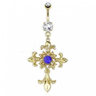 Fleur de Lis Cross with Centered Blue Gem Dangle 14kt Gold Plated Navel Ring