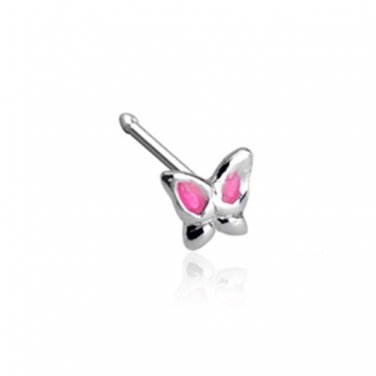 Epoxy Colored Pink Winged Butterfly  .925 Sterling Silver Nose Stud