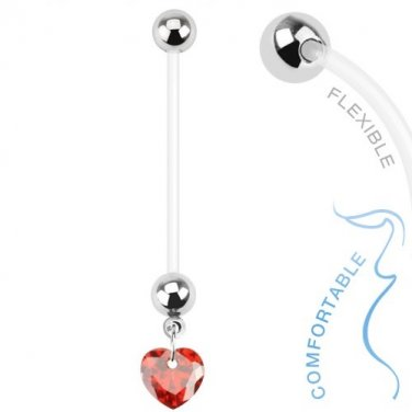 Heart Pregnancy With Red CZ Gem Belly Ring