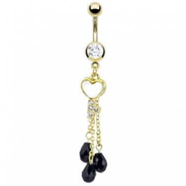 Pearl Inlay Heart Key with Black CZs Dangle