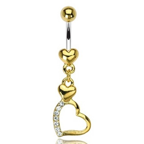 2 Heart Gem Pave Dangle with 316L Surgical Steel Gold Plated Heart Navel
