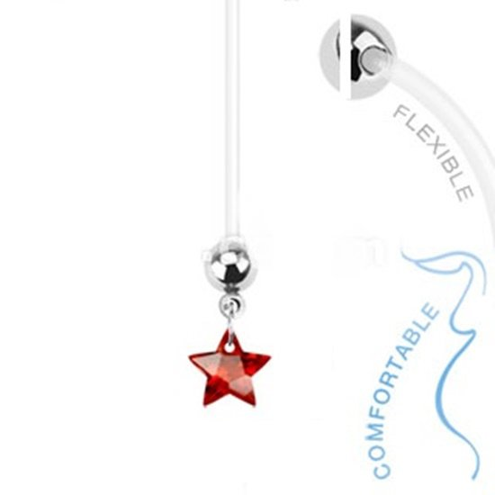 BioFlex Pregnancy Navel Ring with Red Star Dangle