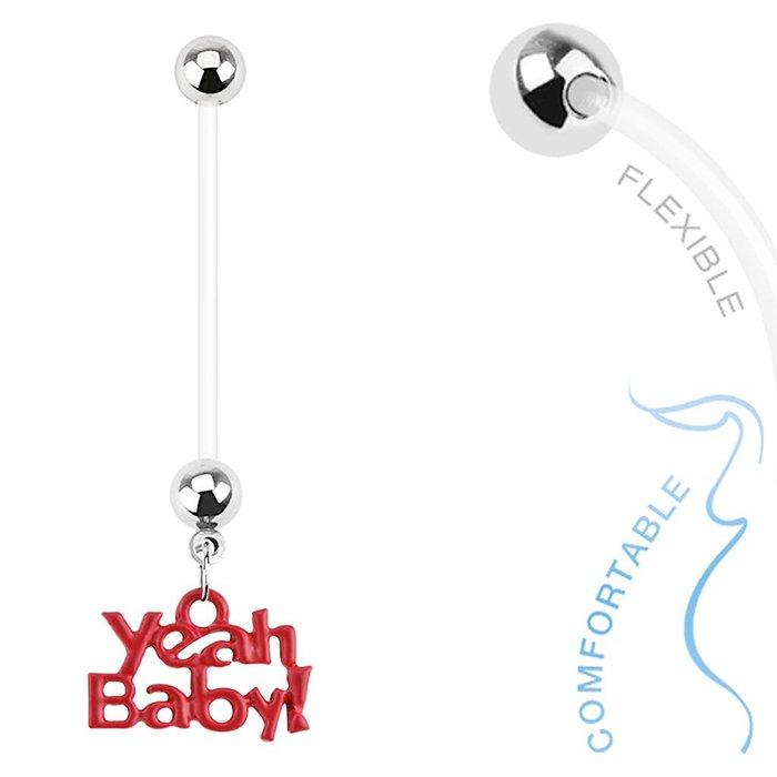 'Yeah Baby' Dangle Bio Flex Pregnancy Navel Ring