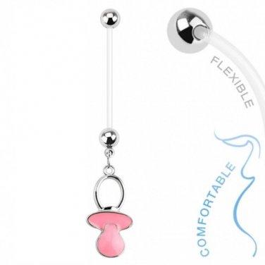 Baby Pacifier Pink Dangle Bio Flex Pregnancy Navel Ring