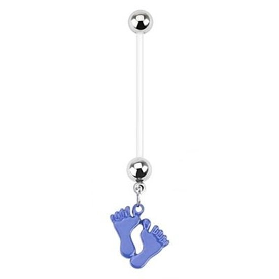 Baby Feet Blue Dangle Bio Flex Pregnancy Navel Ring