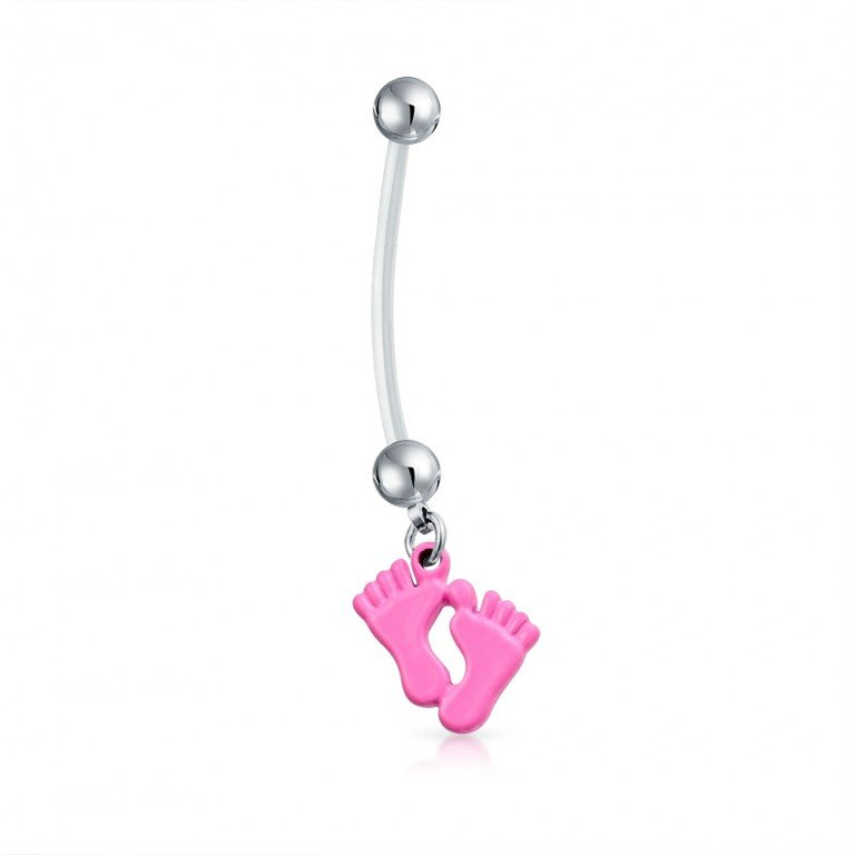 Baby Feet Pink Dangle Bio Flex Pregnancy Navel Ring