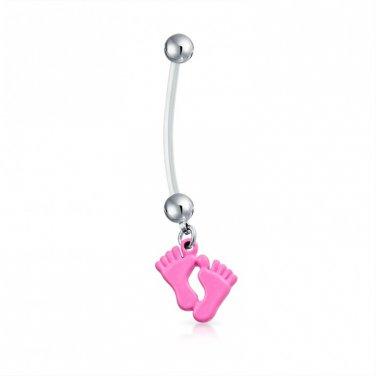 Baby Feet Pink Dangle Bio Flex Pregnancy Navel Ring