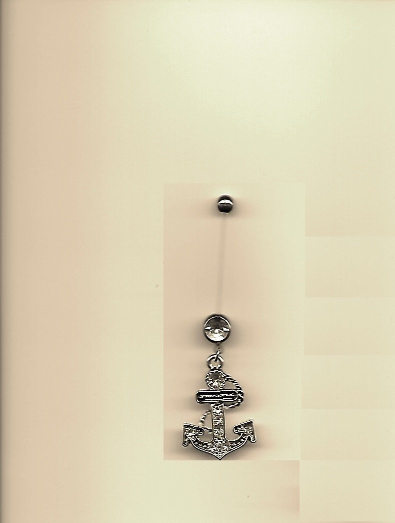 Pregnancy Multi Paved Anchor/Clear Gems Navel Ring