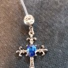Pregnancy Fleur de Lis Cross/ Oval Blue Gem Dangle Navel Ring