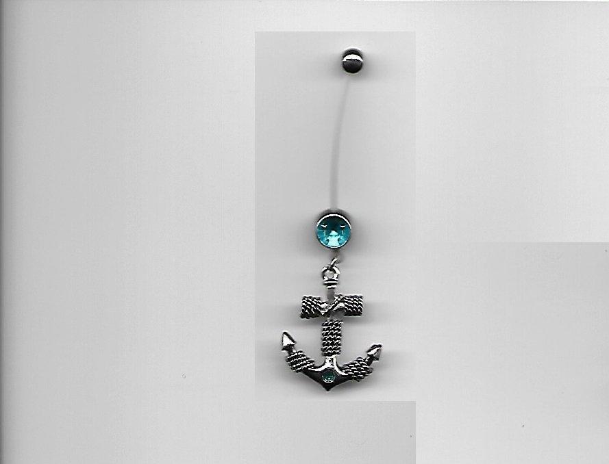 Pregnancy Roped Anchor/Aqua Gems Navel Ring