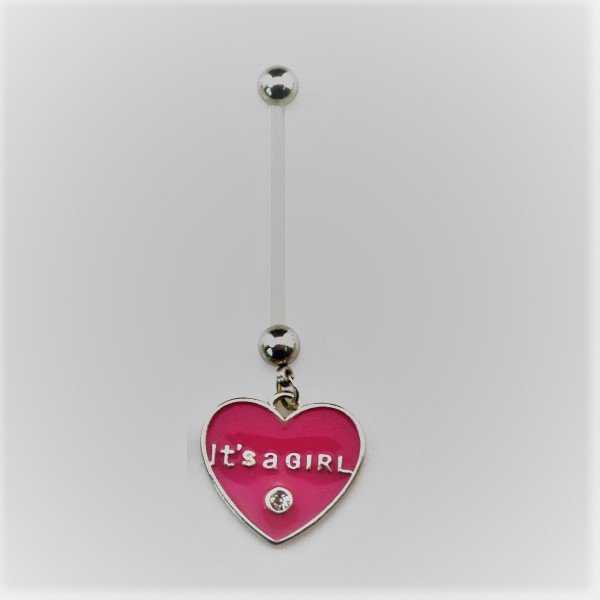 "Pregnancy Heart ""It's A Girl"" Navel Ring"