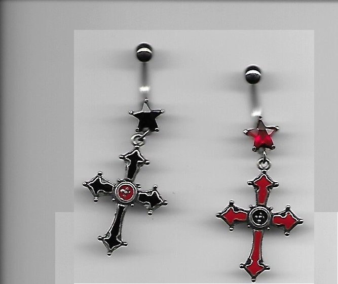 ( 2 pc ) Set Red And Black Crosses