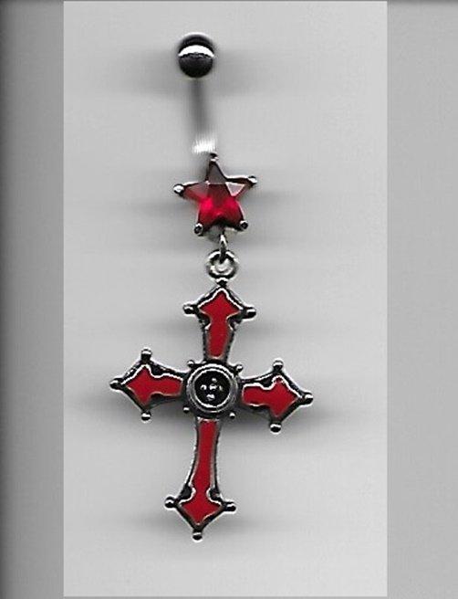 RED CROSS NAVEL RING