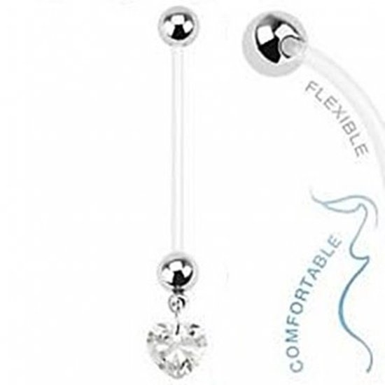 Pregnancy Dangling Heart with Clear Prong CZ Navel Ring