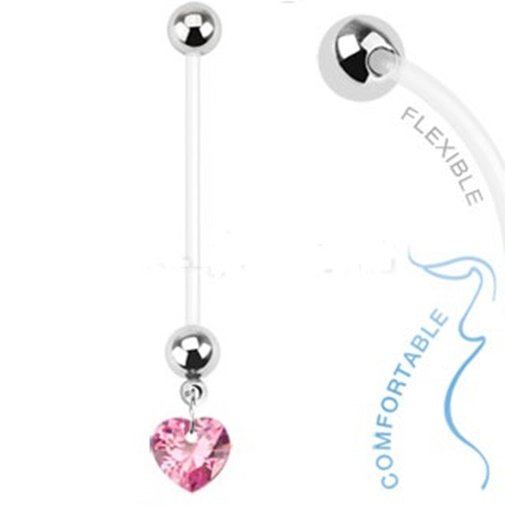 Pregnancy Dangling Heart with Pink Prong CZ Navel Ring
