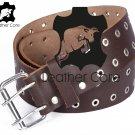 Leather belt with rivets, Leather Double Hole Grommets Belt, KILT BELT, Gothic belt 36 inches Waist