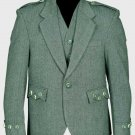 Lovat Green Tweed Argyle Scottish Men's Kilt Jacket With 5 Button Vest Size 34 Long Body