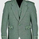 Lovat Green Tweed Argyle Scottish Men's Kilt Jacket With 5 Button Vest Size 42 Long Body