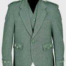 Lovat Green Tweed Argyle Scottish Men's Kilt Jacket With 5 Button Vest Size 44 Regular Body