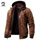 Men's Real Leather Jacket Detachable Hoodie Style Motorcycle Biker Rockstar Size XS - 3XL