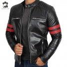 Men's Genuine Black Leather Jacket fashion Slim fit Biker Motorcycle jacket XS - XL