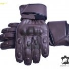 Handmade Genuine Brown LEATHER Men GLOVES Motorbike Motorcycle Winter Gloves Size M