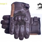 Genuine Brown LEATHER Men & Women GLOVES Motorbike Motorcycle Winter Gloves Size L