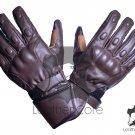 Handmade Genuine Brown LEATHER Men GLOVES Motorbike Motorcycle Winter Gloves Size XS