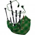 New Scottish Irish Tartan Rosewood Bagpipes Black Finish With Silver Mounts