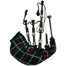 New Scottish Mackenzie Tartan Rosewood Bagpipes Black Finish With Silver Mounts
