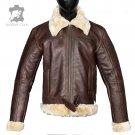 Real Sheepskin Bomber Flying Fur Shearling Brown Leather Mens Jacket