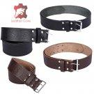 Premium Handmade Leather KILT BELT Rampant Lion Embossed Belt  Dual Prong / Needle Closure