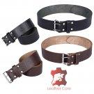 Premium Handmade Leather KILT BELT Thistle Embossed Belt Dual Prong / Needle Closure