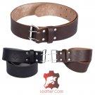 Premium Handmade Leather KILT BELT, Masonic Embossed Belt Dual Prong - Needle Closure