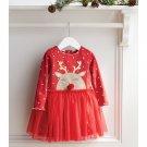 Mud Pie Girls Christmas Holiday Reindeer Mesh Dress 2/3T
