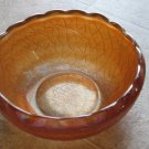 Ruffled Edge Marigold Crackle Carnival Glass Bowl