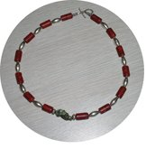 NATURAL TURQUOISE & CORAL & STERLING NECKLACE TCN28064